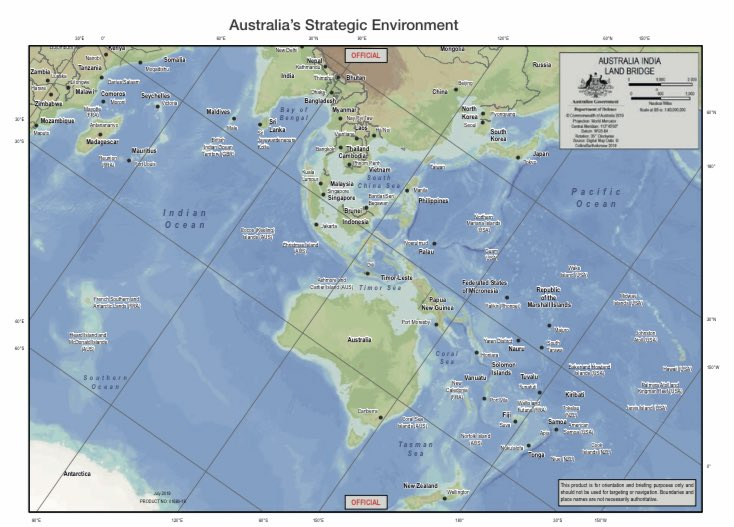 🙏🏻 finally a Defence map illustrating Australia's entire strategic environment - what is that down on the bottom left corner? https://t.co/gUwTrTzfvC https://t.co/DBI6qRc1M4