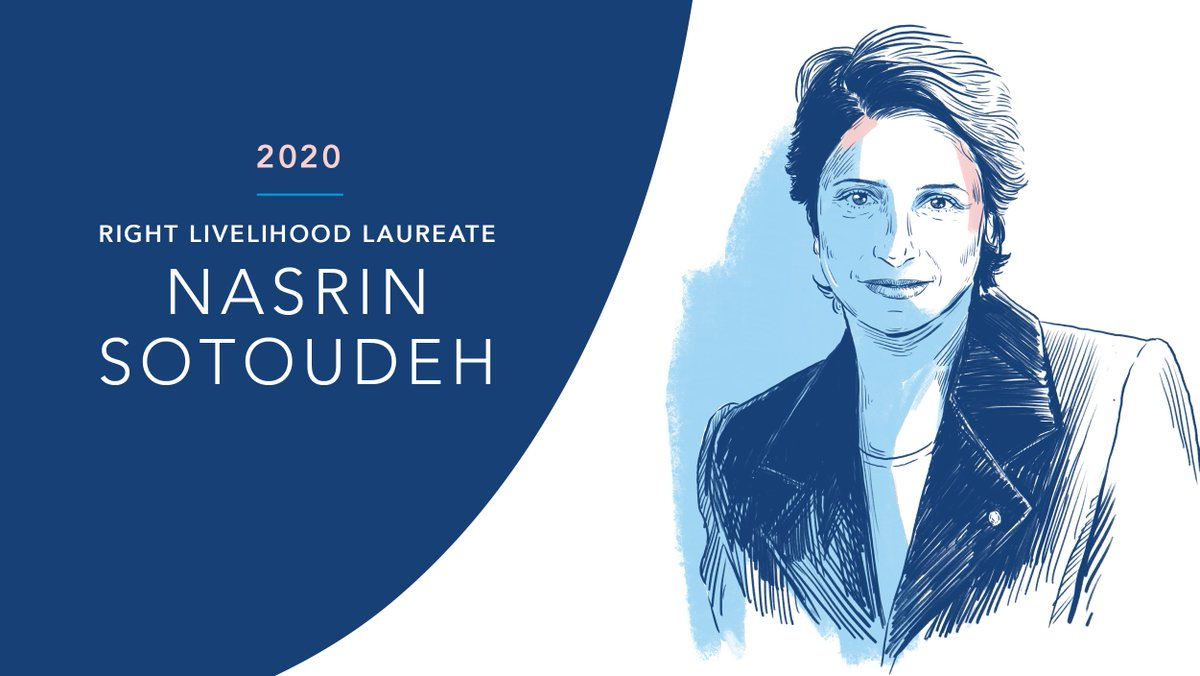 """🇮🇷 Imprisoned #HumanRights lawyer Nasrin Sotoudeh receives the 2020 #RightLivelihood Award """"for her fearless activism, at great personal risk, to promote political freedoms and human rights in #Iran.""""  Read more ➡️ https://t.co/9zfT2ZS4rZ  #FreeNasrin https://t.co/X548zYk8BK"""