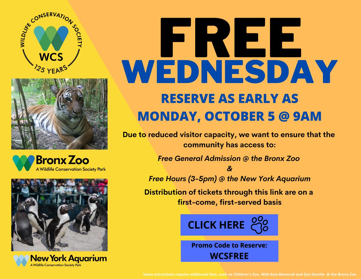 We may have spent the last 6 mos in quarantine, but life finds a way to bring us some much-needed joy🐼🦍🐅 Take an 'aww'-inspiring look at @BronxZoo's exotic family this upcoming Wednesday. #FreeAdmission with promo code: WSCFREE — Limited reserve NOW👉 https://t.co/OB6Rv5W49F https://t.co/b7NoOgUS9n