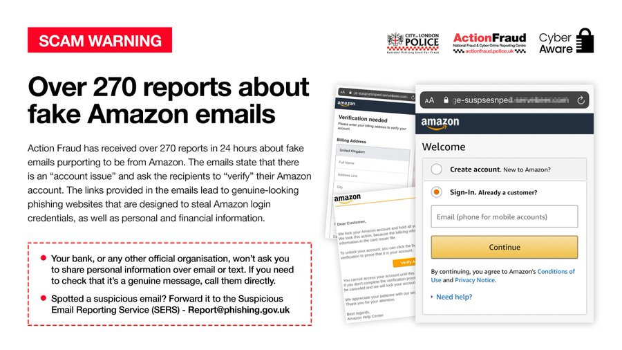 Action Fraud On Twitter Scam Warning Watch Out For These Fake Amazon Emails We Received Over 270 Reports In Just One Day If You Receive A Suspicious Email You Can Report It