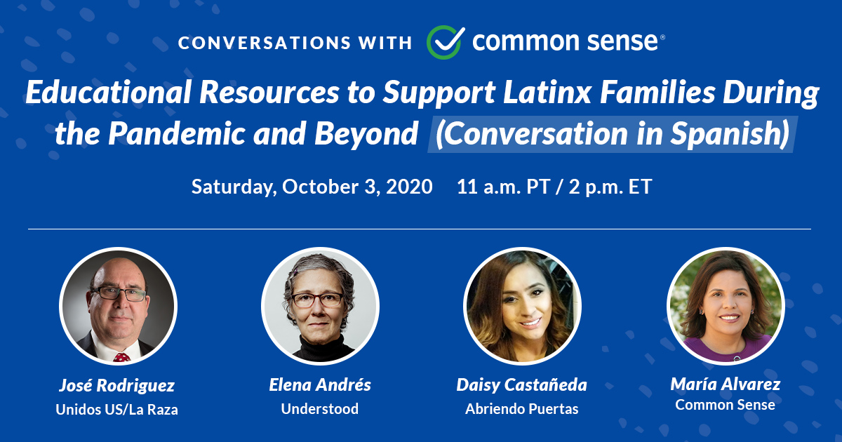 SATURDAY OCT. 3! Join @CommonSense, w/ guests from @WeAreUnidosUS @UnderstoodOrg @AP_OD_National, for a #bilingual discussion on:     ✅  Distance learning     ✅  Free resources in #Spanish     ✅  Resources to help cope w/ coronavirus-related stressors  https://t.co/0WaFbU9x8B https://t.co/3ZrKwW6C7y