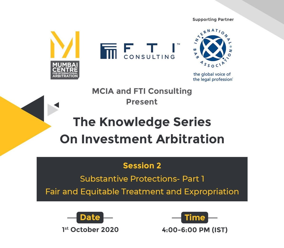 STARTING SOON: Register for the second session of The Knowledge Series on Investment #Arbitration. Substantive Protections- Part 1: 'Fair and Equitable Treatment and Expropriation' will take place on ?️ 1 October ? 11:30-13:30 BST - Register now➡ https://t.co/eoHKk8F0cy #Law https://t.co/A6Q1tF2Xej