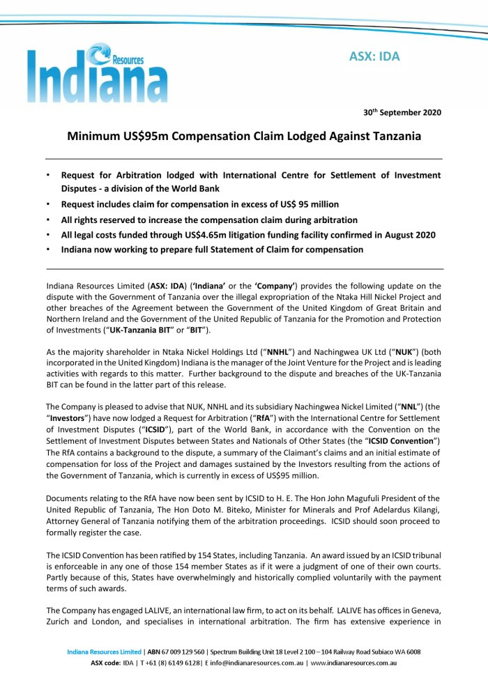 Indiana Resources: Minimum US$95m Compensation Claim Lodged Against #Tanzania https://t.co/jEQZNctp83 @IndianaResource #Arbitration #Mining https://t.co/J7PpkQpROG