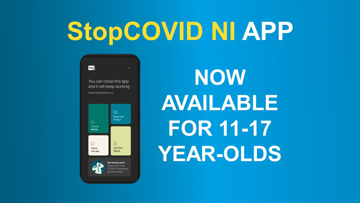 StopCOVID NI app is now available to 11-17-year-olds ➡️health-ni.gov.uk/news/new-covid…