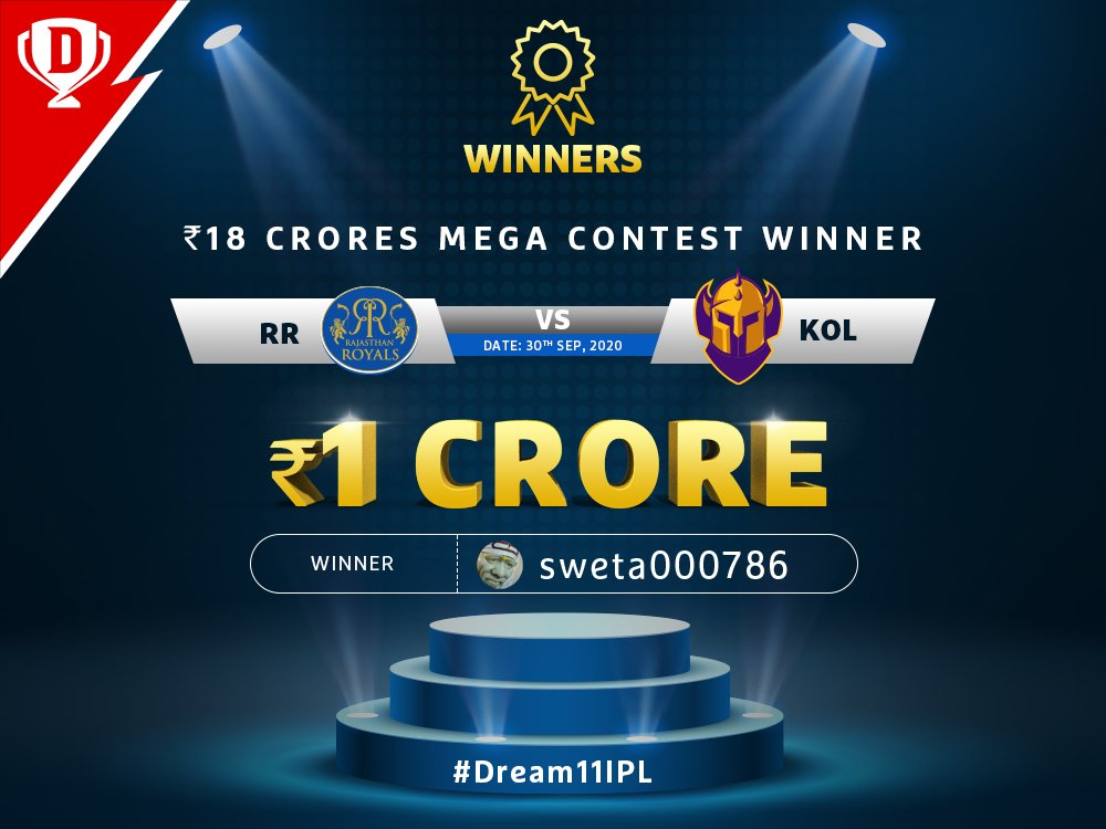 Congratulations to the winner of #RRvKKR Mega Contest! 🥳💥👏  Keep playing on #Dream11 and stand a chance to win BIG 👉   #Dream11IPL #YahanSabSameHai #YeApnaGameHai