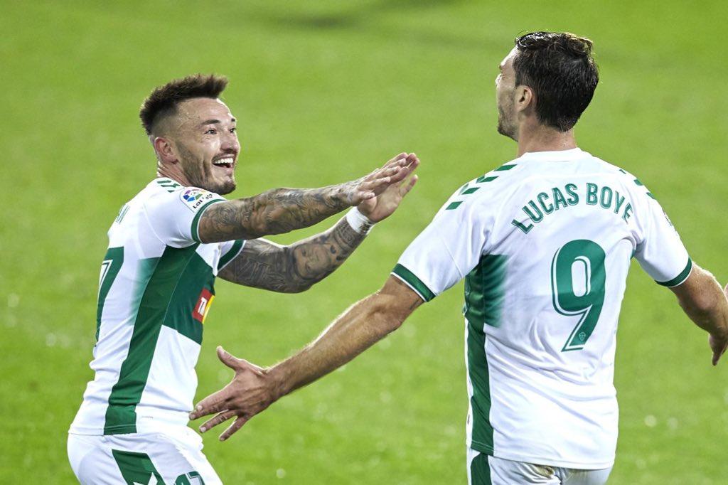 Lucas Boyé celebra el gol de la victoria contra la SD Eibar | @ElcheCF