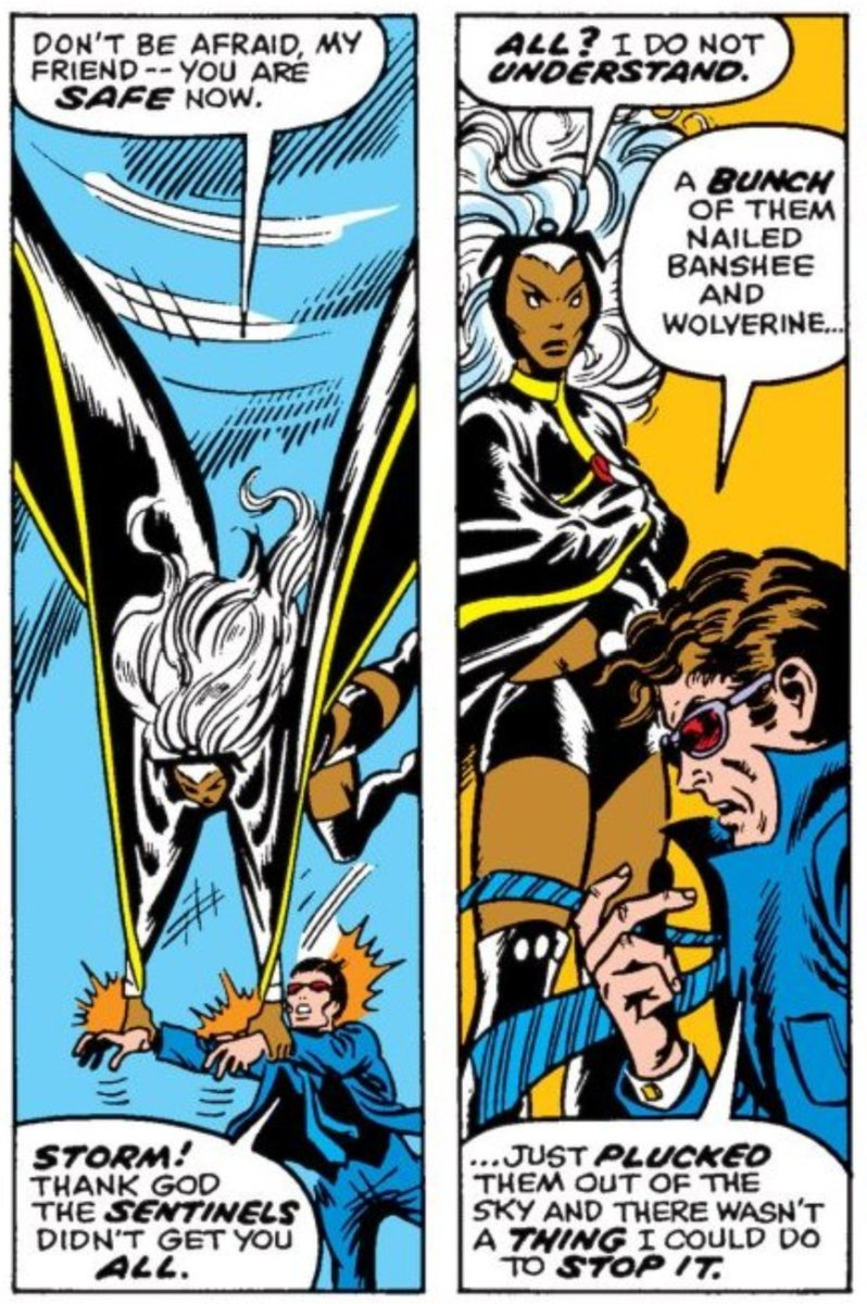 We see Banshee and Wolverine rush into the fight, but they get captured off panel, which is odd. #JDWUXM