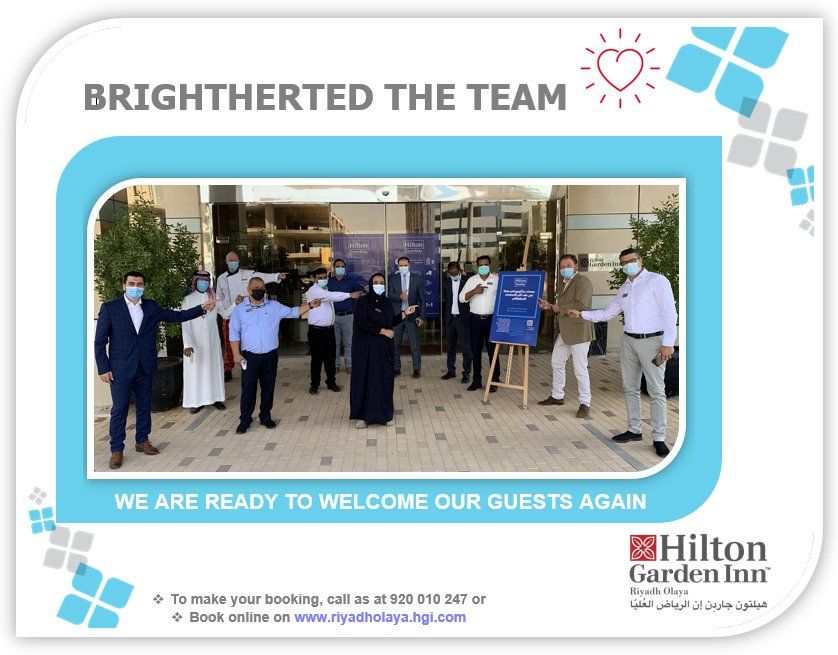 As of today our Hilton Garden Inn Riyadh Olaya is back! We are ready to welcome our guests again, please help us to spread the word around! @ Hilton Garden Inn Riyadh Olaya.  #HonorsDreamAway #HiltonCleanStay #Familytime #Riyadh #weekendvibes #Riyadh_events #Riyadhksa #holidays https://t.co/d0xMCe54Tq