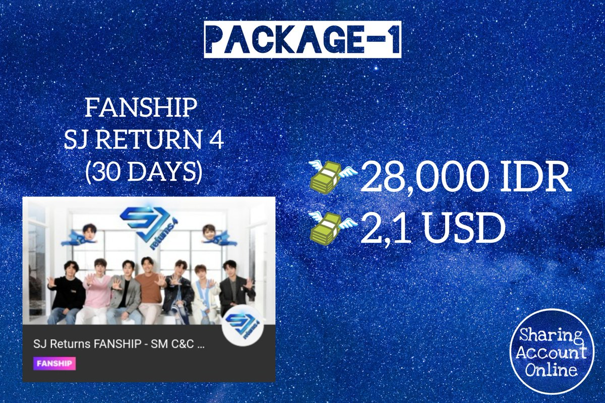 🌟 SHARING SJ RETURN 4 FANSHIP 🌟  Package 1 (30 Days) Package 2 (90 Days) Package 3 (90 Days + Premium Pack)  🔸For Indo and Inter Fans Available🔸  💳 OVO/GOPAY/PAYPAL 💸 PRICE & DETAIL  ⬇️⬇️⬇️  #SUPERJUNIOR #SJreturns4  #SuperJuniorKRY #SuperJuniorDnE #슈퍼주니어 #Fanship https://t.co/Sd1cEPJO9v