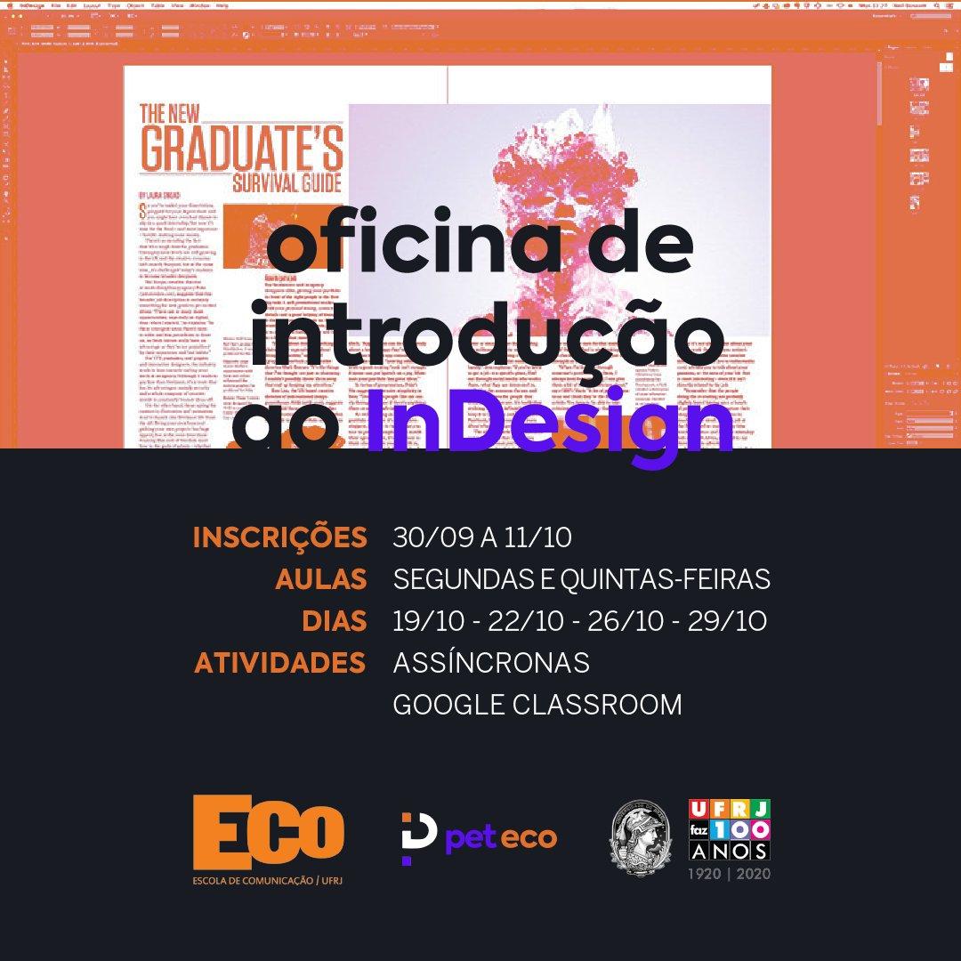 InDesign é o software da Adobe focado em diagramação, pode ser utilizado na criação de apresentações, além de ser perfeito para a edição de grandes arquivos. 💻  Quer aprender o básico do InDesign? Essa oficina é para você!  🤩  https://t.co/A1iszKg6Ix https://t.co/hrceCQK7vm