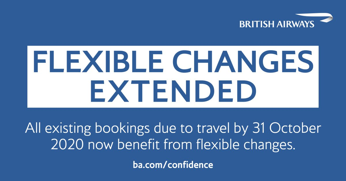 Our flexible change policy has been extended to cover all customers due to travel until 31 October 2020. To find out more about exchanging your booking for a voucher and changing your travel plans due to the ongoing #COVID19 uncertainty, visit https://t.co/OvVGSRdIO4 https://t.co/H9MROxceVn