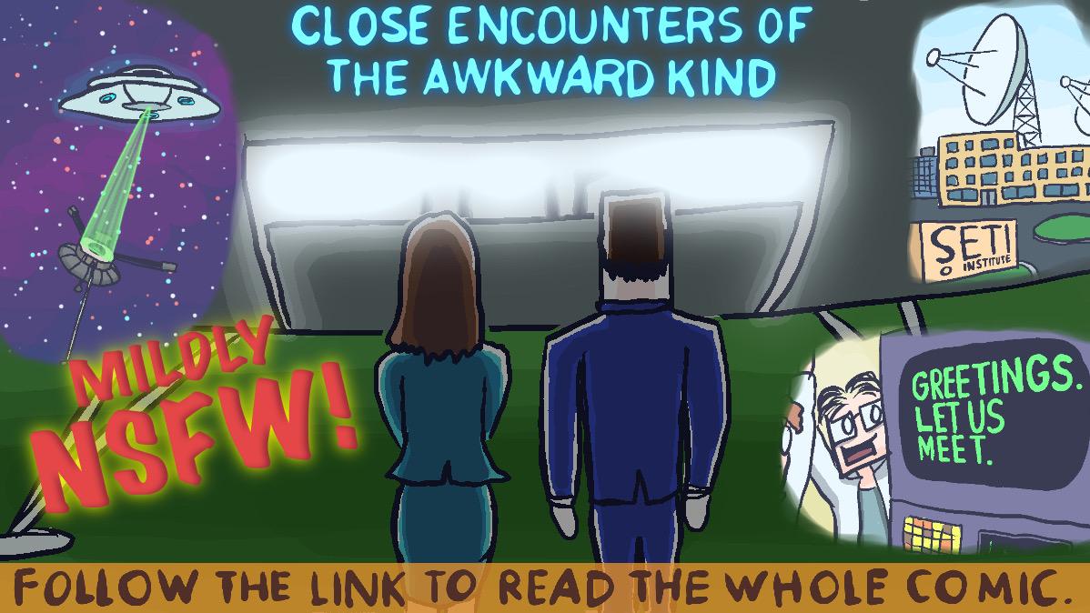 A new comic: 'Close Encounters of the Awkward Kind' 🛰🛸👽 (NSFW) https://t.co/jstC45qADc  #custardfist #webcomics #comics #funny #pioneerplaque #pioneer10 #alien #aliens #wearenotalone #firstcontact #carlsagan #spaceship #ufo #misunderstanding #space https://t.co/2F3wevvwnh