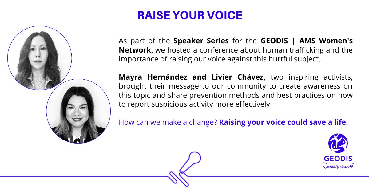 As part of the GEODIS | Women's Network initiatives, we have created the Speaker Series. This time, Mayra Hernández and Livier Chávez brought their message to raise our voice against Human Trafficking, a most sensitive topic, and a real problem around the globe #GEODIS #Awareness https://t.co/KWVgO6x3rT
