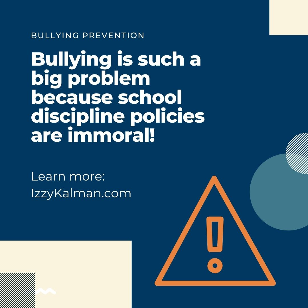Bullying is such a big problem because school discipline policies are immoral!  https://t.co/3vbm7YbwOX   #mentalhealth #stopbullying #awareness #stigma #parenting #antibullying #fighter #family #health #endbullying https://t.co/P81z1GdnlP