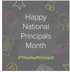 Happy National Principal's Month to all my colleagues and friends and to all who are doing this work that we are blessed to do. It's been a rough year but each and everyone of you have done what was needed. #LeadThroughAdversity #LeadLAP #tlap #PrincipalEdChat #PIAChat https://t.co/17T6OlSePI