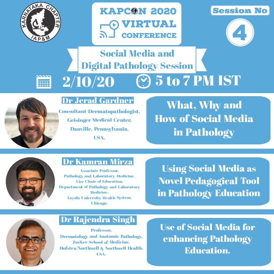Honored to join @JMGardnerMD and @mydermpath in session 4 of #KAPCON20 tomorrow at 6:30 AM CT, 7:30 AM ET and 5PM IST - looking forward to a great discussion on #SocialMedia #Education and #Pathology!  #KAPCONPathTweet @loyolapathology #MedEd https://t.co/NwWUAUQiU8