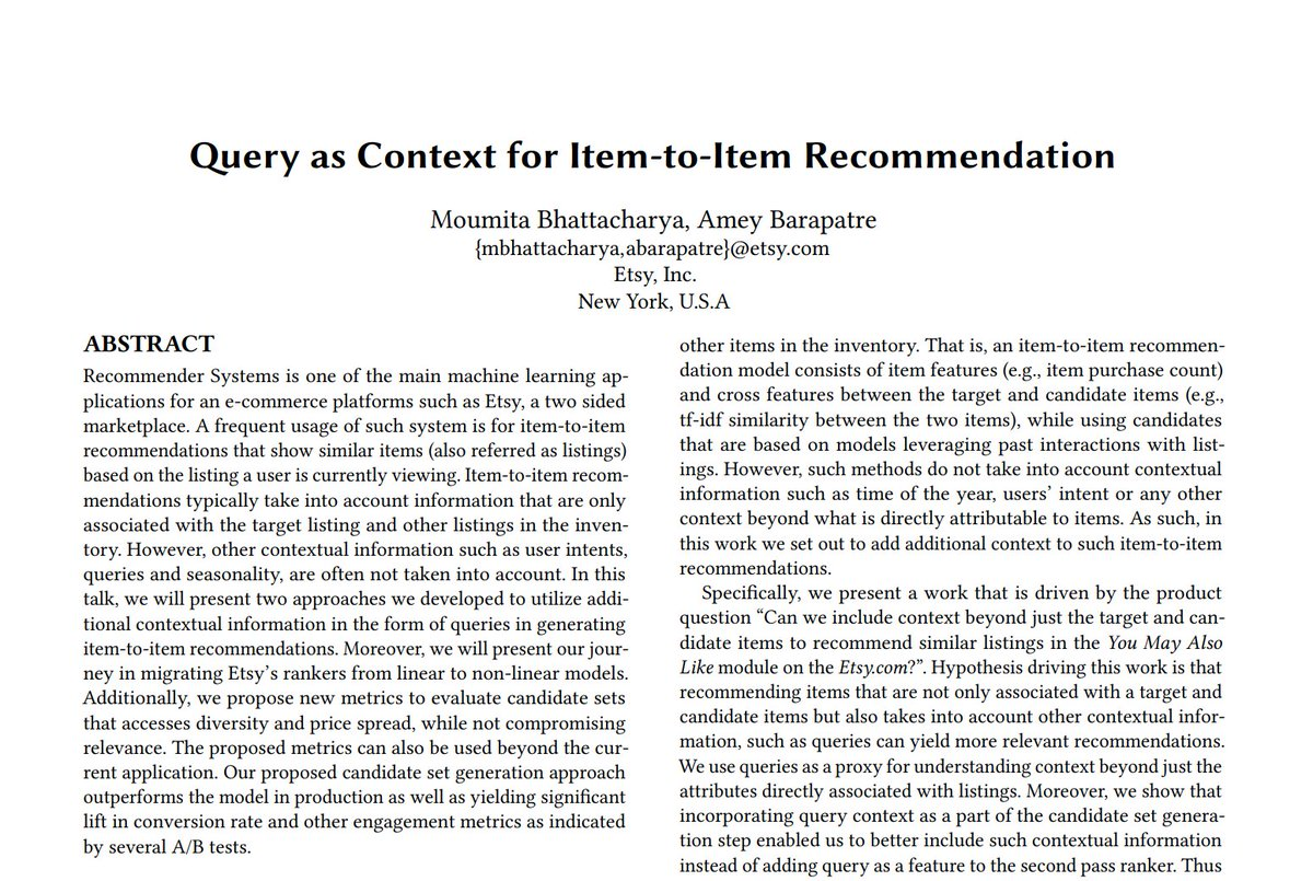 """[#FridayWiMLDSPaper 📜 curated by @MarieSacksick] """"Query as Context for Item-to-Item Recommendation"""" by Moumita Bhattacharya (@moumita_bh) and Amey Barapatre   #WiMLDSParis #WiMLDS #WomenInSTEM #RecSys2020 #RecSys"""