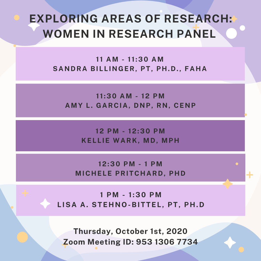 👩🏻⚕️👩🏽🔬 Today's #WomenInMedicineWeek lineup includes panels from women in research + medicine! We are SO excited to be hearing from so many women in different fields (MD/DO, PhD, MPH, DPT, DNP). 😍 We hope you can tune in for a little (or a lot)! ⬇️⬇️ @KUMedCenter #MedEd #medtwitter https://t.co/Jl1vT09l8f