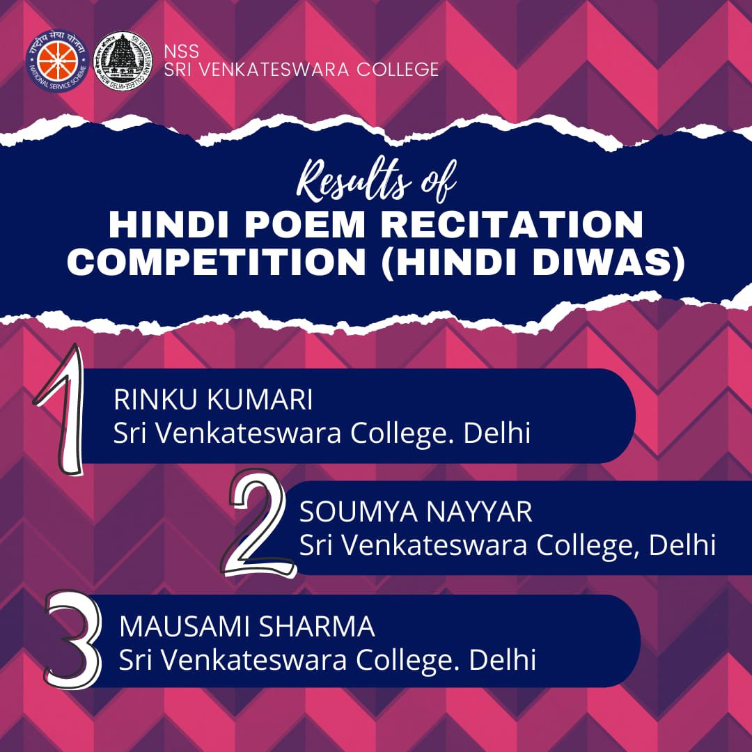 Results of Hindi Poem Recitation Competition . . . #Nss #Nsssvc #notmebutyou #hindi #hindipoem #hindiquotes #hindishayari #poetry #letsmakeadifference https://t.co/4mTWUvbylB