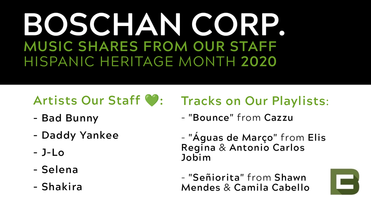At @BoschanCorp we are celebrating #HispanicHeritageMonth2020 with excellent playlists, among other homages to #Hispanic #heritage and #culture.  What are your favorite #LatinX inspired tracks? https://t.co/4AUJxIyGRS