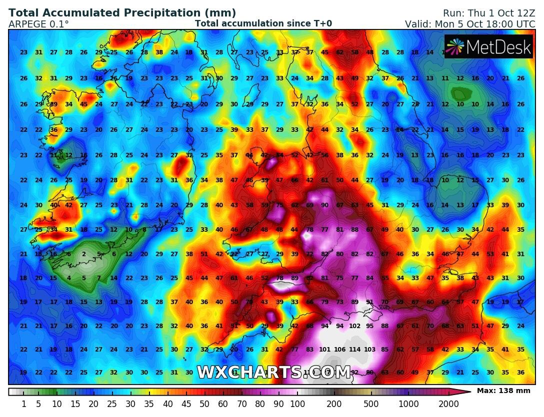 Some eye watering rainfall totals appearing on high resolution weather models.   Still uncertainty around where low pressure pivots and hence highest totals but #Herefordshire #gloucestershire appear in firing line.  Some spots could see over 100mm by Sunday.  Stay #floodaware https://t.co/YFA4Sfn3CE