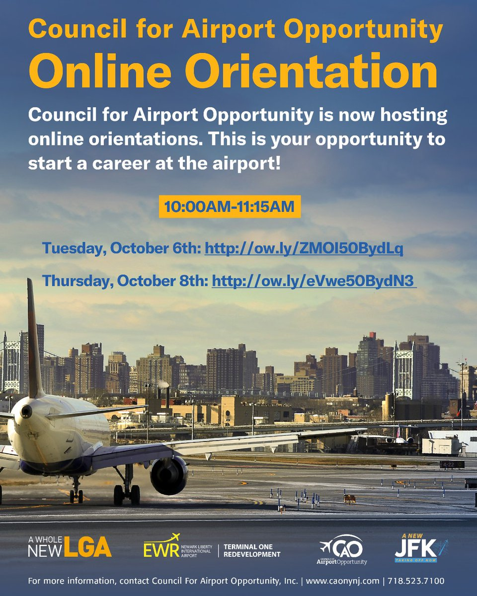 Did you miss CAO's Online Orientation today? No worries! We will have more orientations next week!  Tuesday, October 6th: https://t.co/B2uGtfXAQs Thursday, October 8th: https://t.co/QmkPMU7sUO   #airline #airport #airplane #aviation #jobs #wkdev #Dogood #change #career https://t.co/KvRONZJITD