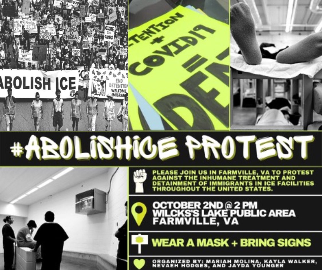 TOMORROW IN FARMVILLE, VA @ 2pm!!! ABOLISH ICE! CLOSE THE CAMPS! #AbolishICE #ABOLISHICA #ICAFarmville https://t.co/cEzCTIkQpw