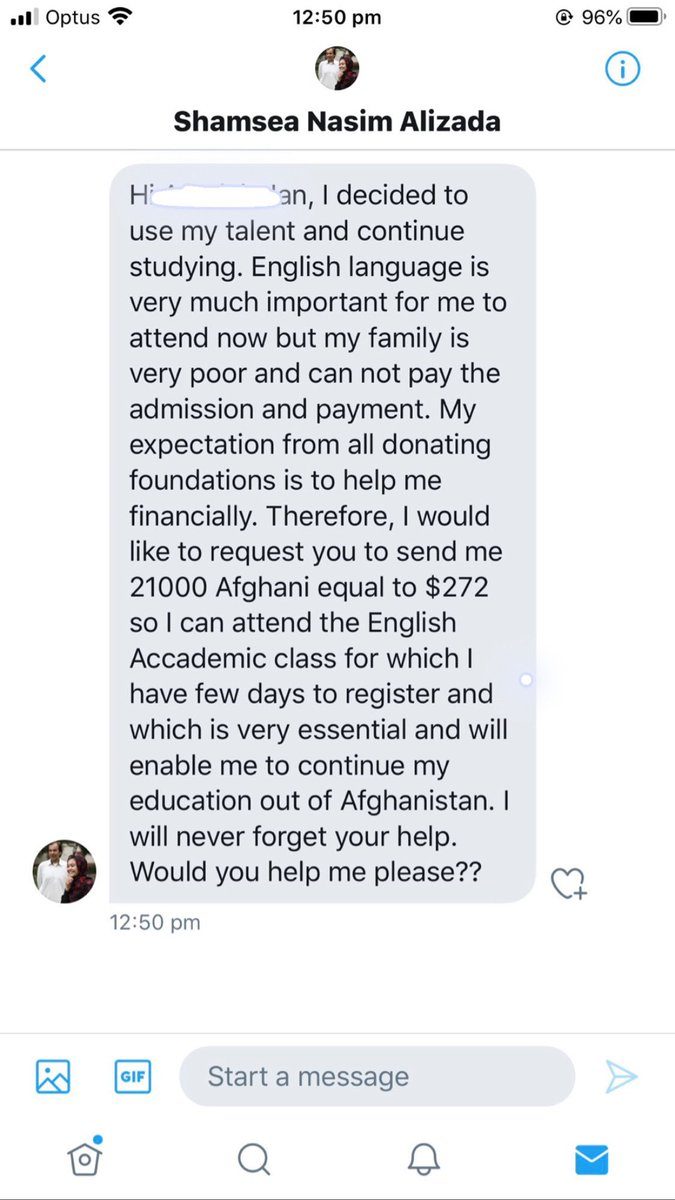 Plz viral this: Shamsea Alizada doesn't have a Twitter account. It is all fake. #Afghanistan https://t.co/n8KmKSLYuF