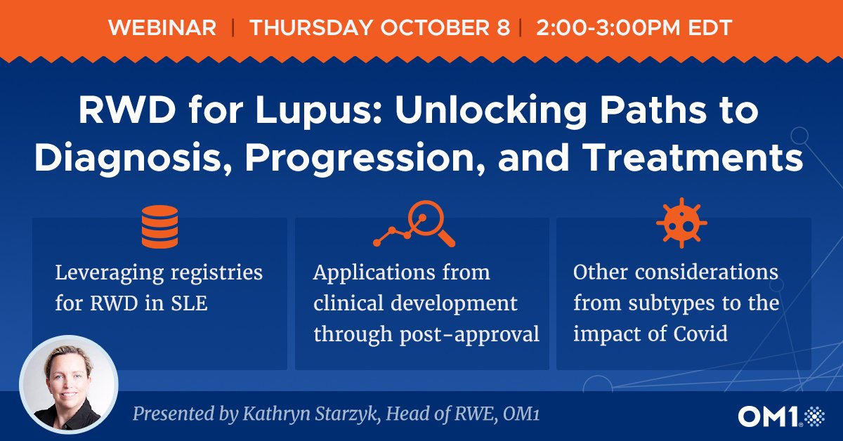 Join Kathryn Starzyk, Head of RWE at OM1, for a webinar exploring RWD for Lupus: Unlocking Paths to Diagnosis, Progression, and Treatments Register: https://t.co/to6b0n7Hz2  #RWD #RealWorldData #Lupus #Autoimmune https://t.co/8KgvX4wMst