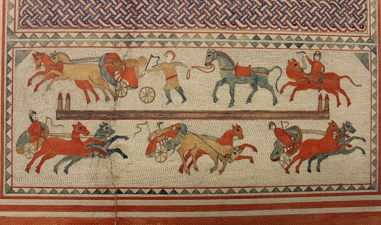 My favourite Romano-British mosaic from Lincolnshire for #LincolnshireDay :) The 4th-century Horkstow 'chariot race' mosaic: https://t.co/TGQCwD0nJP https://t.co/8cdANDoJU4
