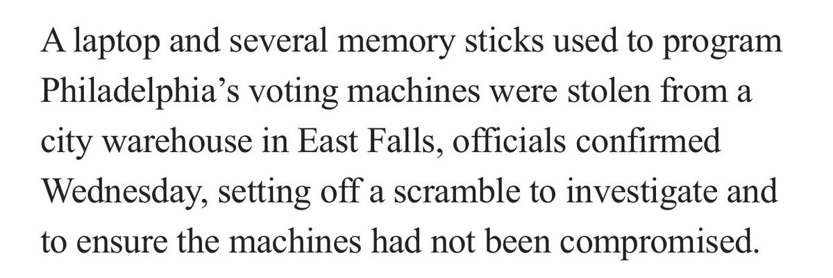 Someone stole memory sticks used to program Philly voting machines and now the whole election may be compromised. https://t.co/DiQgZPzjNs