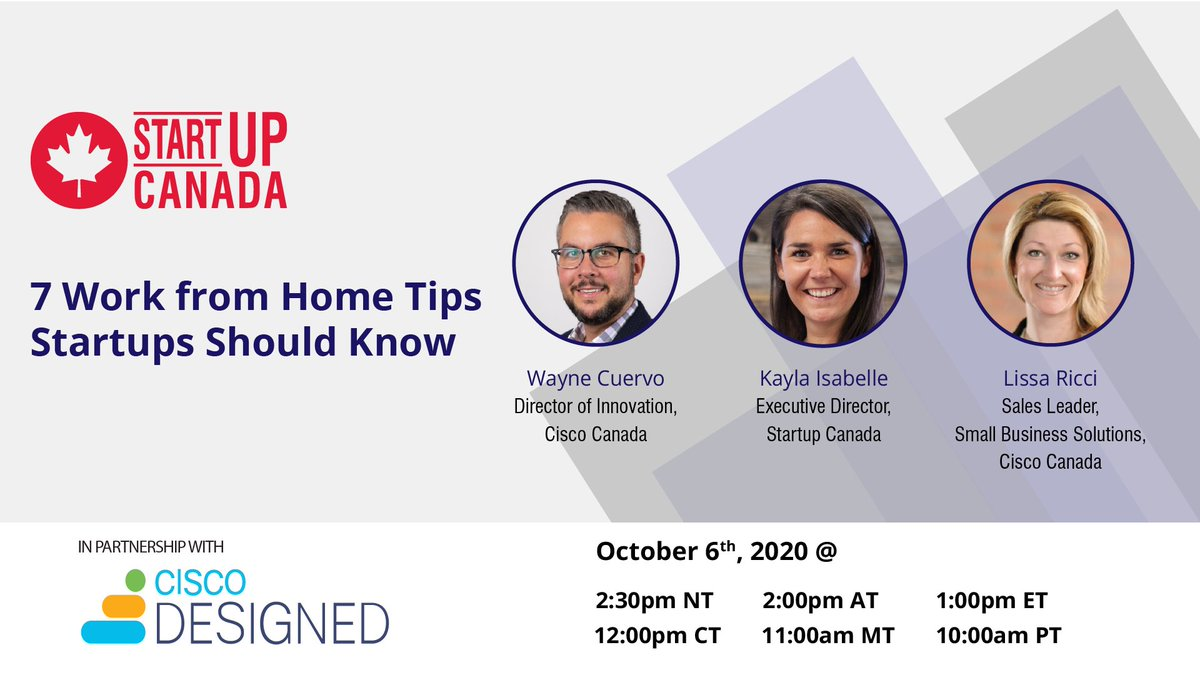 Nonstop work-from-home can take a toll, especially for startups used to a collaborative in-person environment.  Remote work can be just as productive, effective & fun as before, with the right approach!  Learn how with our partners at @Cisco on Oct 6th!   https://t.co/YNaQAKKzw5 https://t.co/FNIpuITRDC