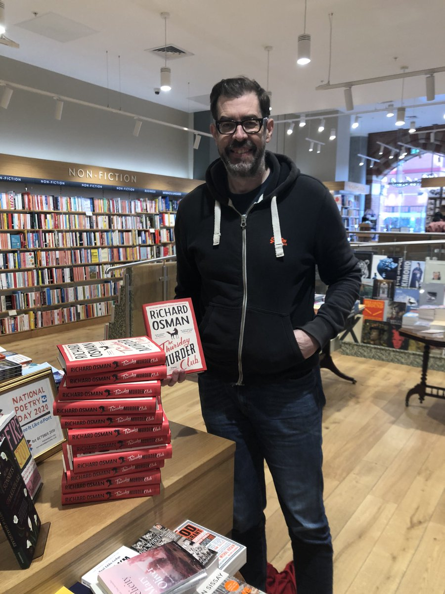 Waiting for a train in St. Pancras and popped in to @Hatchards to sign some books (all my own, I promise). Lots of independent bookshops up and down the country have signed copies too! They let me take my mask off for the photo.