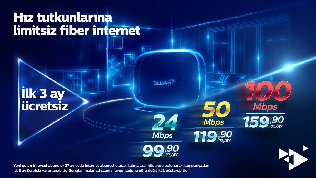 Türkiye'nin fiber gücü Türk Telekom'dan hız tutkunlarına müjde! 100 Mbps'ye kadar hız seçenekleriyle limitsiz fiber internet sizi bekliyor. Üstelik ilk 3 ay faturanız bizden. https://t.co/kDNmlc9Fha https://t.co/bvpPwS5K91