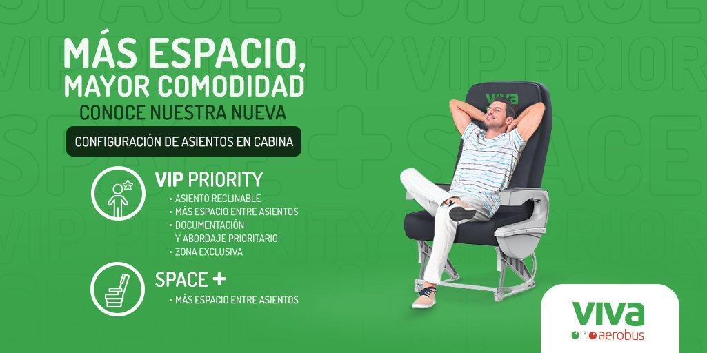 ¡Ahora con Viva viaja más cómodo! 😉✈️ Conoce nuestra nueva configuración de asientos en cabina y sus beneficios, #VIPPriority y #Space+ para que vueles con más espacio y mayor comodidad, ingresa. 👉 https://t.co/XOxToeGXNd https://t.co/8WFKcCoOvP