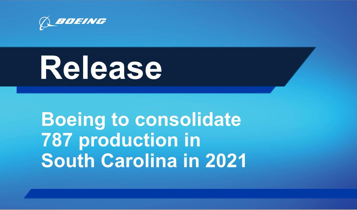 With historically low demand for aircraft due to COVID-19 and following an in-depth study, Boeing will consolidate 787 assembly in S.C.   This does not change our commitment to Puget Sound, where the 737, 747, 767, 777 & more are assembled.  Release: https://t.co/Ytu5IU0BQd https://t.co/gDRX5ha1yx