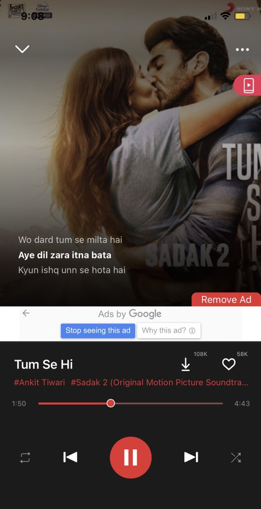 I Don't know about the movie, but this song, #TumseHi 💚.  #repeatmode @aliaa08 #sadak2 @officiallyAnkit 🎼 @gaana