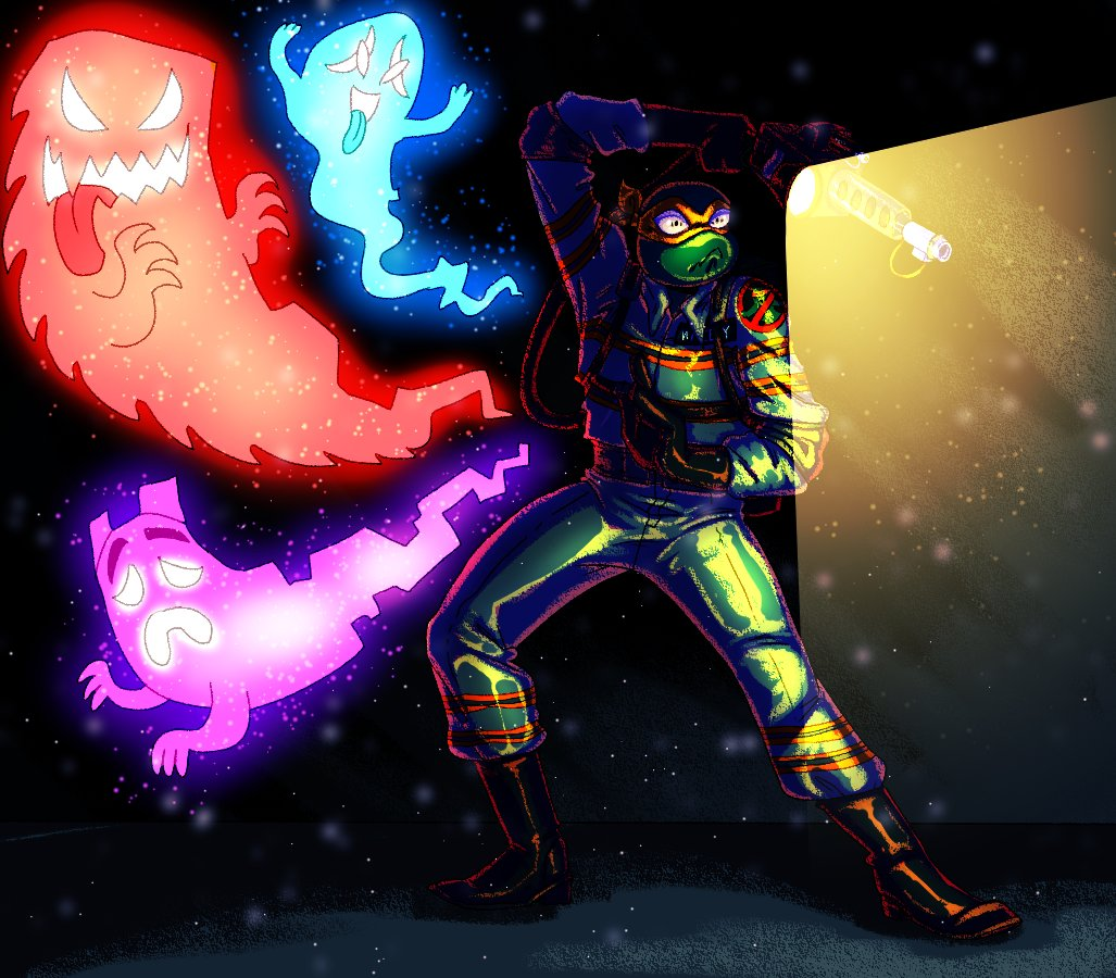 #risetober day 1: Mikey! He aint afraid of no ghosts! (except he totally is 0~0) #rottmnt #saverottmnt @Nickelodeon @NickAnimation @TMNT