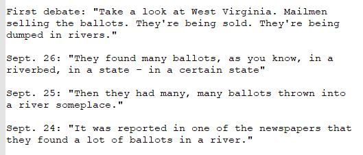 What has the President said about ballots in a river? Heres four quotes from the past week: