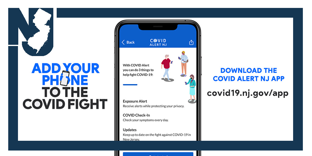 NEW: We just launched #COVIDAlertNJ – an exposure notification app that will alert you if you have potentially been exposed to #COVID19: ☑️Free ☑️Anonymous ☑️Secure   Add your phone to the COVID fight! Download the app here: https://t.co/B2YNdX5M9o https://t.co/Ou9JMFpMth