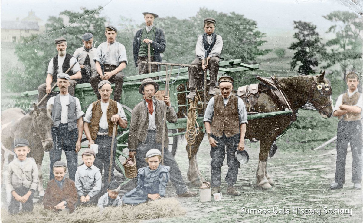 Posing for the camera after a day's haymaking in Furness Vale. Digitally colourised by https://t.co/AKNis5kvdz #Derbyshire #FurnessVale https://t.co/joMNruLo5p