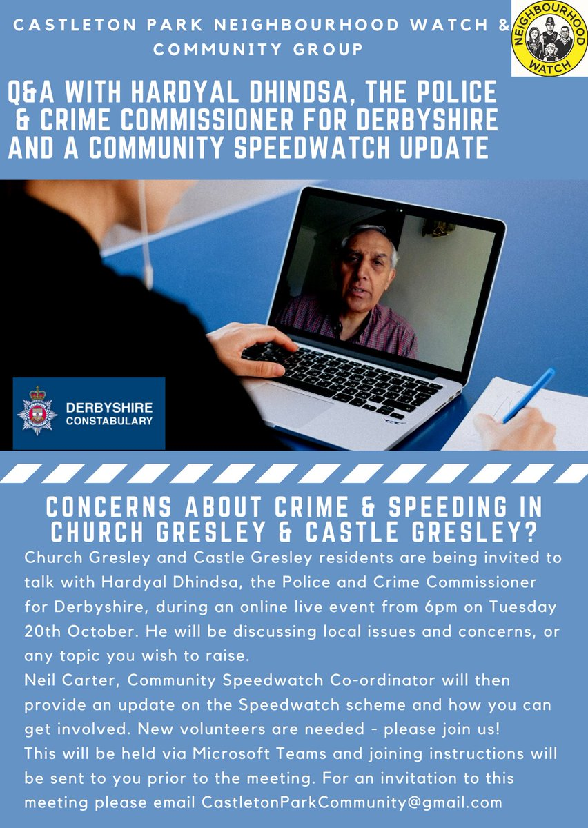 Get involved with @CastletonPark #nhw  and speak with @hardyaldhindsaabout your concerns with #speeding in Church  Gresley and  Castle Gresley. A great proactive watch to be apart of. #derbyshire https://t.co/17TyuEXqVw