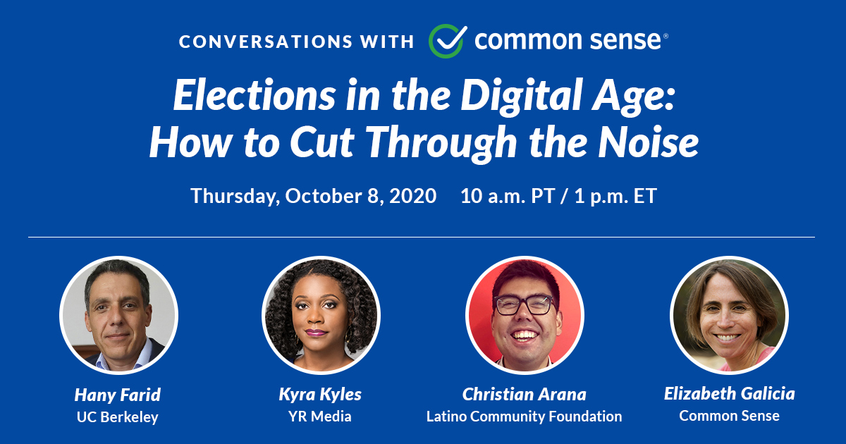 LIVE THURSDAY OCT. 8: Feel overwhelmed by the constant barrage of info on social media about the upcoming #election? You're not alone! Get the resources & tools to help you identify biased or false #election information w/ @CommonSense  Register for free: https://t.co/zsIvH7F0PU https://t.co/GPA8xgvicF