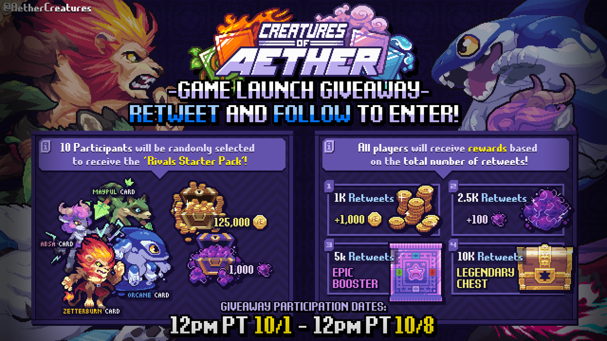 Creatures of Aether is now available on iOS and Android!  Retweet and Follow for a chance to win a Rivals Starter Pack.  All Creatures players will also receive prizes based on the number of retweets on this tweet!
