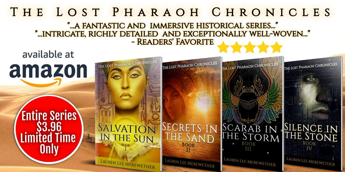 "Egypt is divided and conspiracy runs deep in The Lost Pharaoh Chronicles! The 5-star series is FREE on KU or buy all 4 books for less than $4! (LIMITED TIME) ""...a page turning frenzy"" - Readers' Favorite 5 stars #HistFic #HistNovel #IARTG #novel >>> https://t.co/81uU5oxCLf .-.- https://t.co/yTN6XNdDbU"