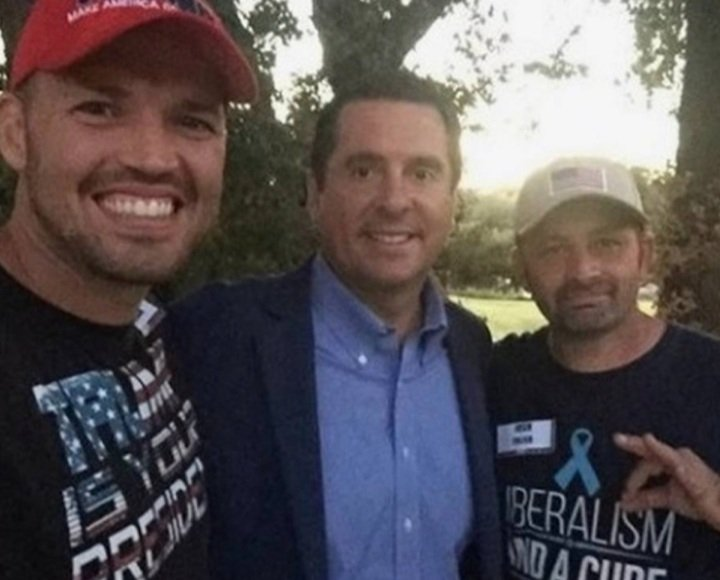 Devin Nunes and Roger Stone with some of the proud boys.