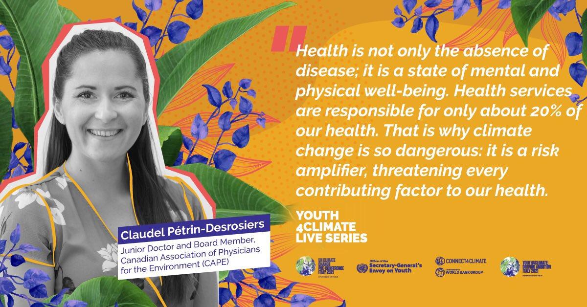 La semaine dernière, j'ai participé à un événement organisé par @Connect4Climate & @UNYouthEnvoy, visant à nourir un dialogue vers #cop26 en y engageant la jeunesse.  Le thème de la discussion: crise climatique, santé &solutions basées sur la nature. Dispo sur FB. #Youth4climate https://t.co/hCO0ruGAKG