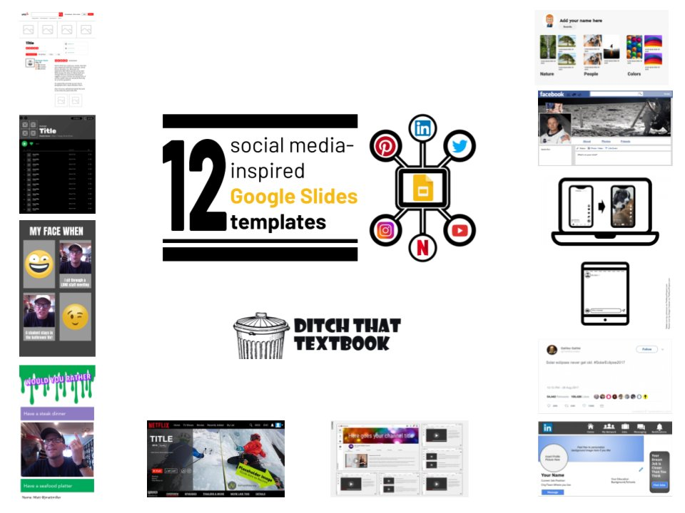 Yelp. Spotify. YouTube. Netflix. LinkedIn. Twitter. Snapchat. TikTok. Instagram. Facebook. Pinterest.  Turn them ALL into learning activities w/these FREE Google Slides templates!  Get 'em here: https://t.co/xtRtQ2MPYN #DitchBook #TechLAP #tlap #remotelearning #edtech #googleedu https://t.co/azm6WLhjdo