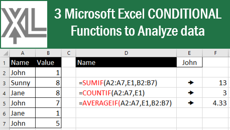 3 #Microsoft #Excel CONDITIONAL Functions to Analyze data! #msexcel #tips #tricks #xceleration #ExcelTips #ExcelTrick https://t.co/u8plK6JLi3