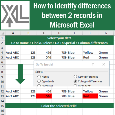 How to identify differences between 2 records in #Microsoft #Excel! #msexcel #tips #tricks #xceleration #ExcelTips #ExcelTrick https://t.co/Yqh7O48znv